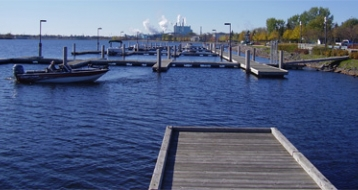 Docks at the Sorting Gap Marina in Fort Frances Ontario