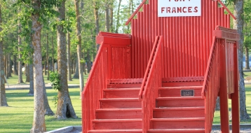 The big red Fort Frances char at Point Park in Fort Frances